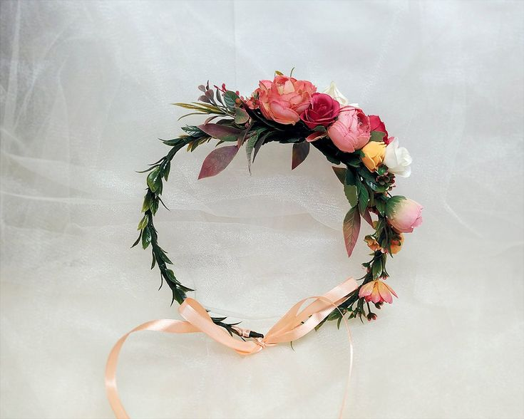 Coral Orange Red Floral Crown Bridesmaid Wedding Hair Wreath Bridal Fall Halo Flower Headpiece Female Hairstyle Accessory PHOTOSESSION