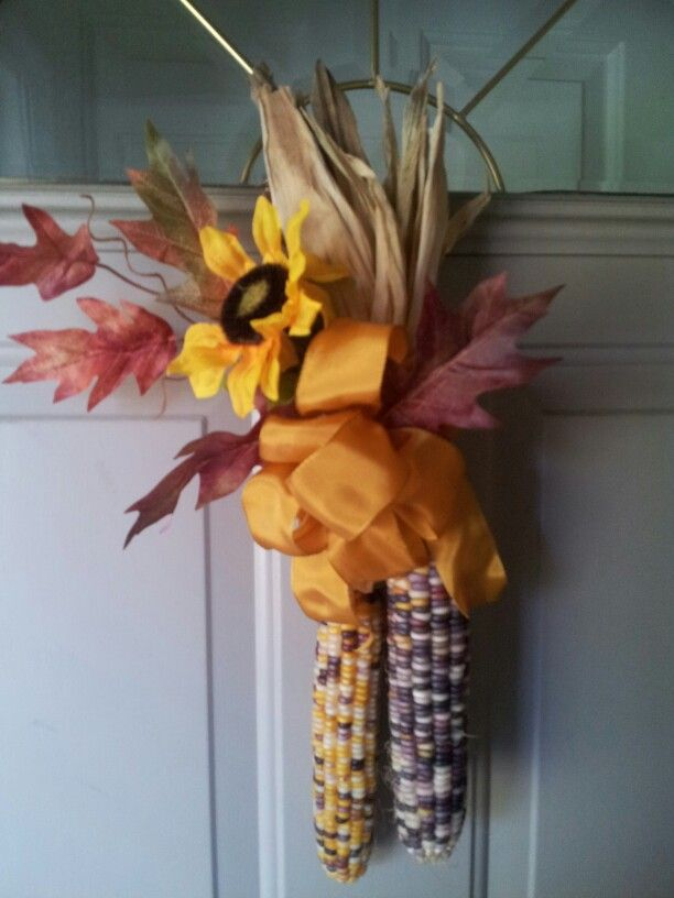 Indian Corn Door Decor My Fall Projects Decorating