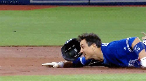 09/11/2017: Baltimore Orioles @ Toronto Blue Jays-Darwin Barney, the beautiful, the graceful… flopping fish. (Source: MLB.TV) Tumblr | Donate | Patreon
