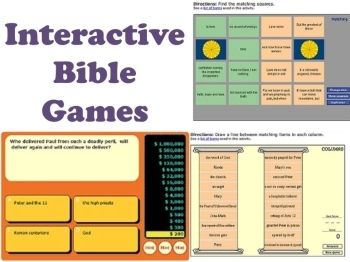 Game: Interactive Bible games - free, hundreds of games in a variety of formats (battleship, Wheel of Fortune, Jeopardy, unscramble and more)