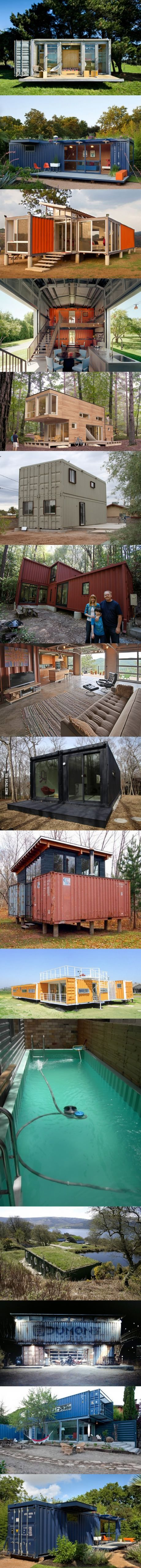 Maisons avec des conteneurs - A used shipping container costs about $2K, after that it's up to you.