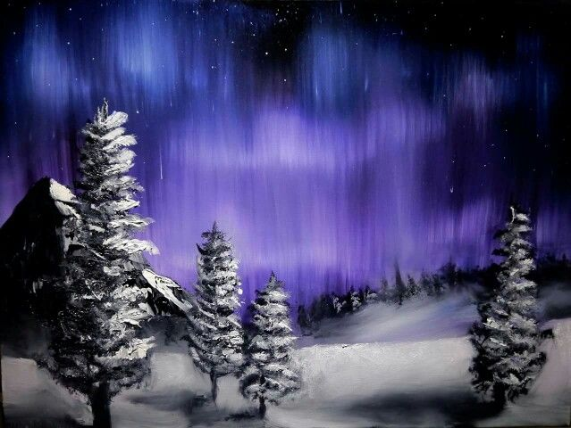 Aurora polaris  Olje på lerret  80 x60 cm