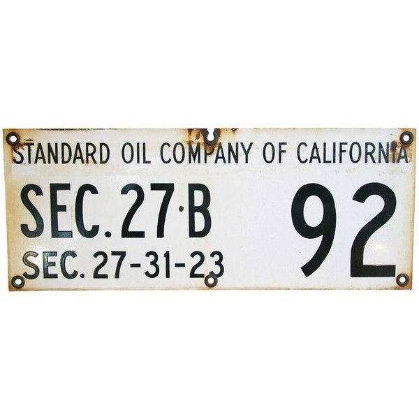 Heavy Standard Oil of California Porcelain Sign ($79) ❤ liked on Polyvore featuring home, home decor, wall art, signs, porcelain wall art, oil sign and porcelain sign