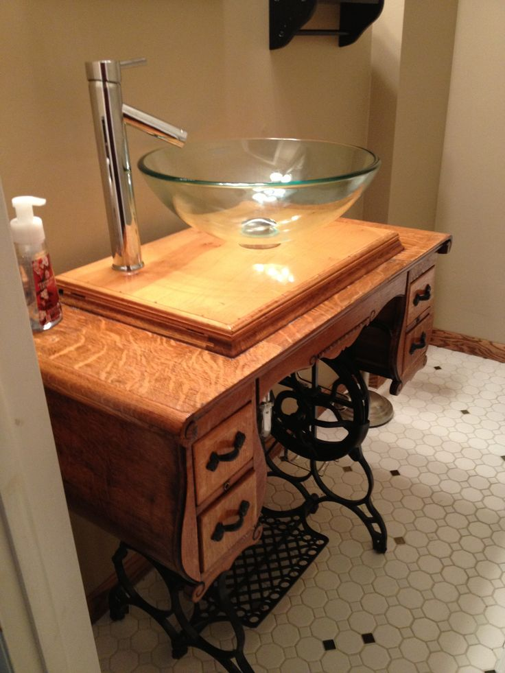 Sewing Machine Sink For Our Powder Room Decor Inspo
