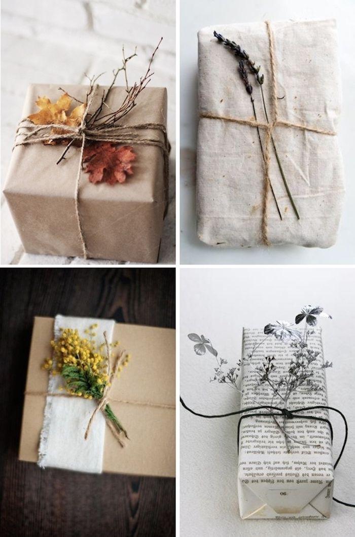 boite cadeau carton emballée de papier kraft, papier journal et de tissu, décoration naturelle de branches feuilles mortes et fleurs