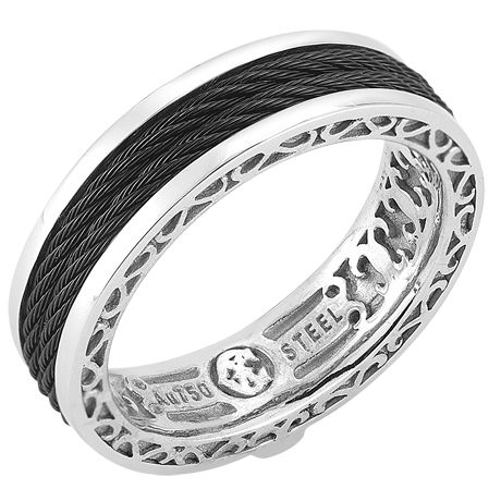 CHARRIOL Gentlemens White Gold Stainless Steel And Black Cable Ring Tokyo V Via Onto Jewelryjewelryjewelry