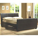 Birlea 135cm Peru Double Bed Frame in Faux Leather with 4 Drawers Dimensions(cm): Width: 150 Length: 210 Height: 92Sleigh bed style bed frame in Brown PU Leather look4 DrawersSprung Slatted baseFlatr packed for aeasy self-assemblyImage representative of style and wi http://www.comparestoreprices.co.uk/beds/birlea-135cm-peru-double-bed-frame-in-faux-leather-with-4-drawers.asp