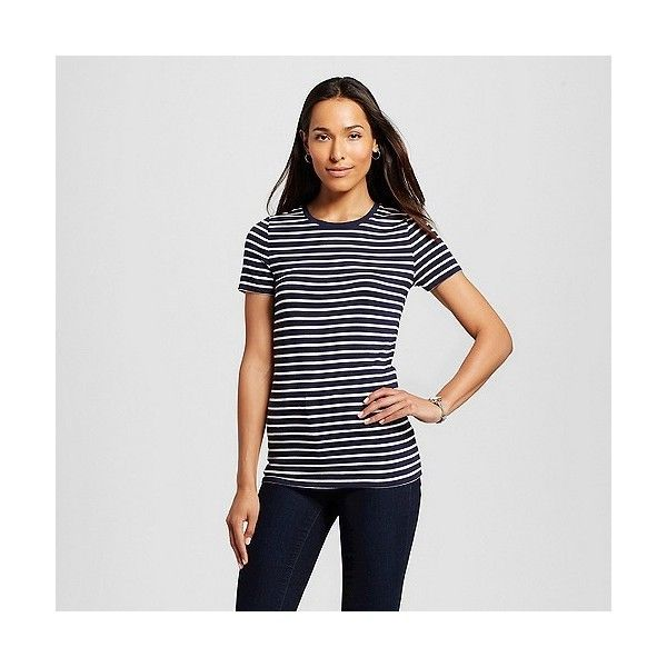 Women's Striped Ultimate Crew Tee Cream/Navy Stripe ($6) ❤ liked on Polyvore featuring tops, t-shirts, white, pattern t shirt, print t shirts, white striped shirt, striped shirt and navy t shirt