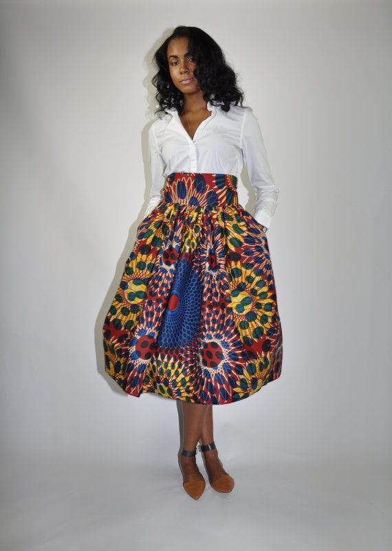 NEW! The Madison Midi -African Print 100% Holland WaxWhat's not to love about The Madison Midi Skirt?  #AfricanPrint #Ankara #AfricanInspired