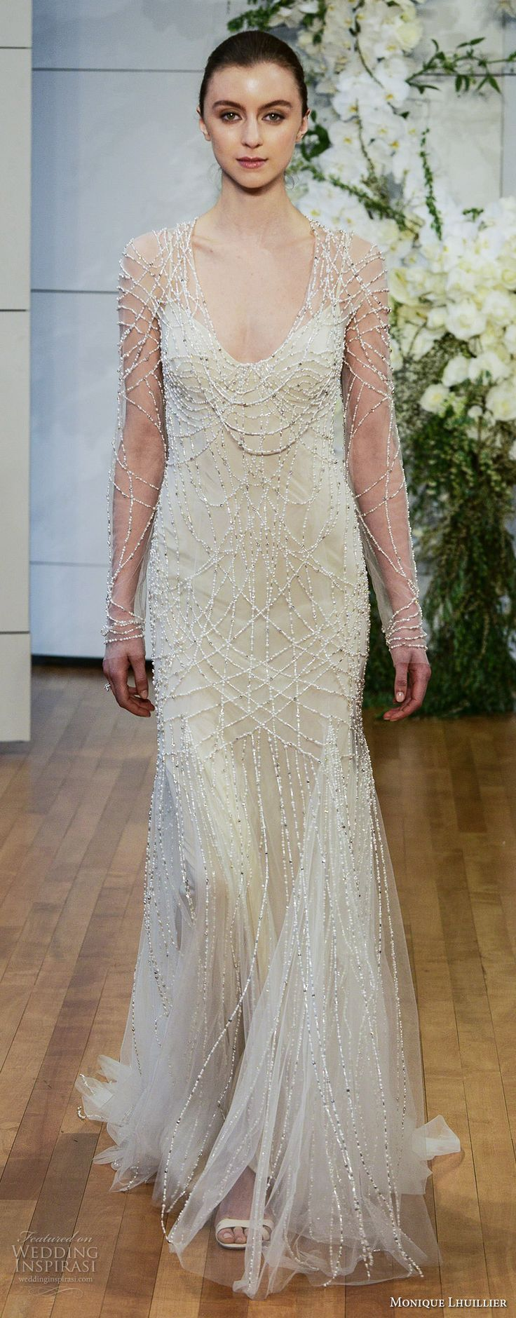 monique lhuillier spring 2018 bridal long sleeves spagetti strap scoop neckline full embellishment beaded elegant glamorous column wedding dress covered beaded back chapel train (samathan) mv -- Monique Lhuillier Spring 2018 Wedding Dresses