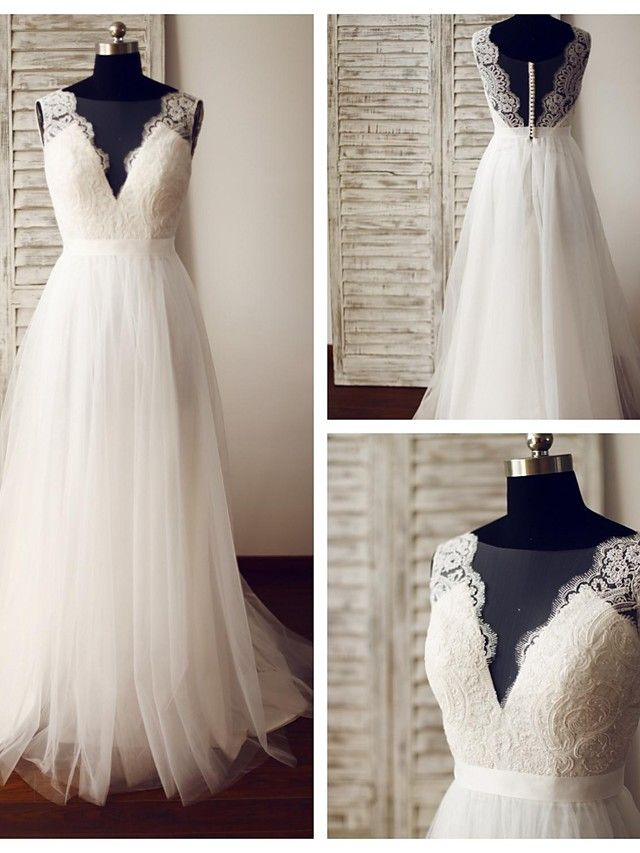 A-line Wedding Dress - Ivory Sweep/Brush Train Scoop Lace / Tulle - USD $ 139.99