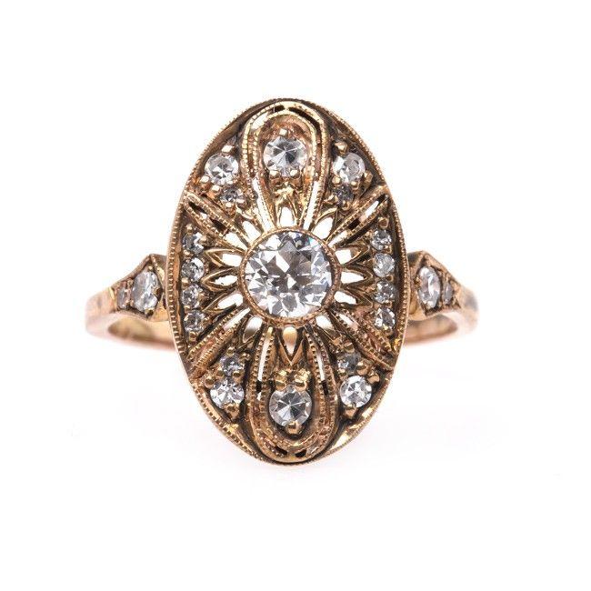 El vintage inspiró oro rosa Eduardiano anillo de compromiso | Peachtree de Trompeta & Horn