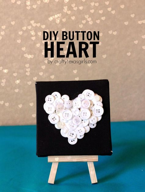 DIY Button Heart- a cute home decor craft for Valentines or anytime via craftytexasgirls.com