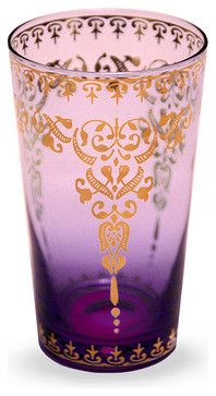 Moroccan Glass - Purple 12 oz. - transitional - Cups And Glassware - Bliss Home & Design