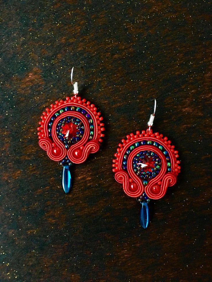 Soutache earrings rękodzieło red