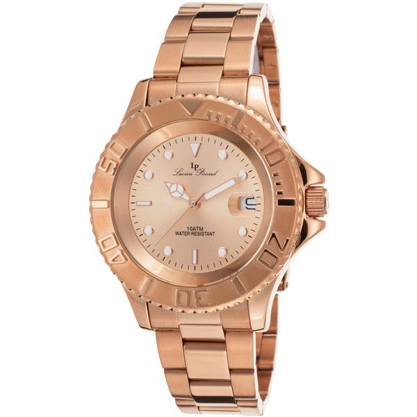 Lucien Piccard Lucien Piccard Women's Walen Rose-Tone Stainless Steel... (£52) ❤ liked on Polyvore featuring jewelry, watches, gold, lucien piccard jewelry, rose watches, dial watches, water resistant watches and stainless steel jewelry