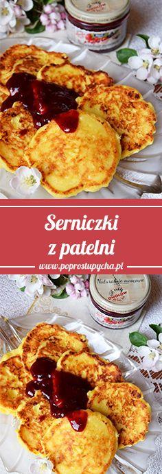 Serniczki z patelni - pomysł na szybkie i bardzo smaczne śniadanko <3 Z konfiturą o smaku owoce leśne Stovit :) #poprostupycha #serniczki #sniadanie #przepis