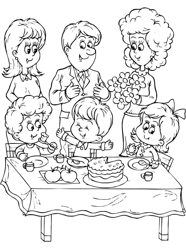 Birthday With Family Coloring Pages