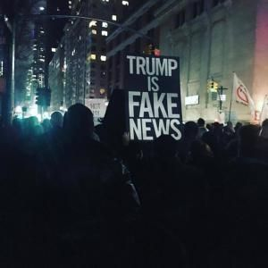 A roundup of funny and clever signs protesting President Donald Trump and his administration.: Trump Is Fake News