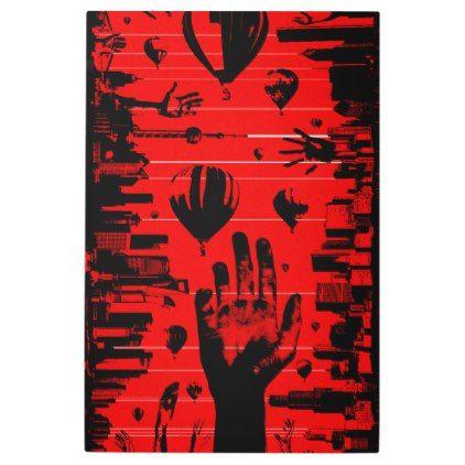 RANDOMAL Red Balloons Metallic Metal Print - metal style gift ideas unique diy personalize