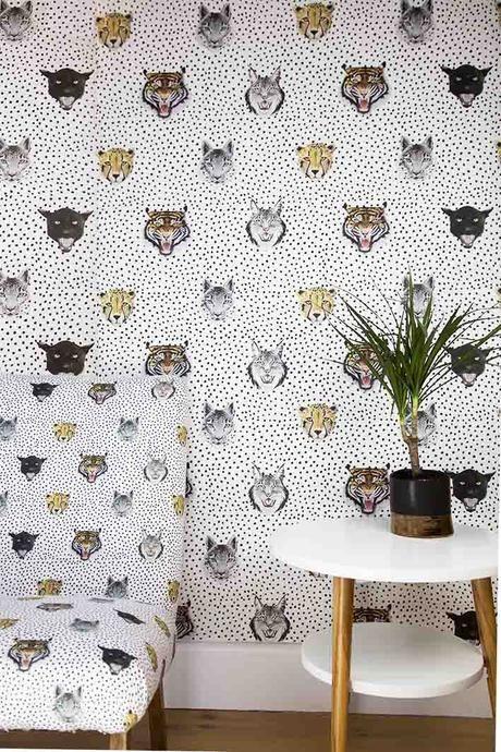 Wildcats Wallpaper from Wild Hearts Wonder one of our favourite stores! #kidswallpaper #animalwallpaper #leopardprintwallpaper #kidsmodernrooms #modernkidsroom #kidsrooms #childrensrooms #bornadbredstudio