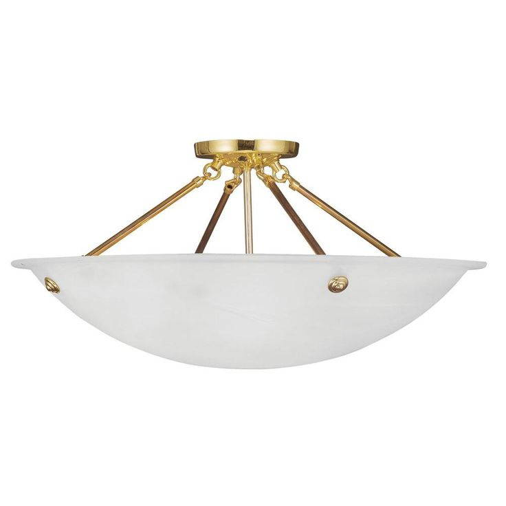 Livex Lighting Providence 4-Light Polished Brass with White Alabaster Glass Flush Mount