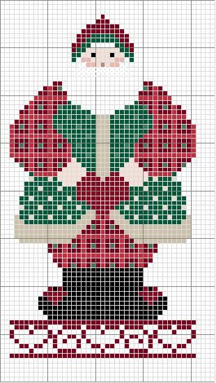 Free Country Cross Stitch pattern: fat country Santa holding heart