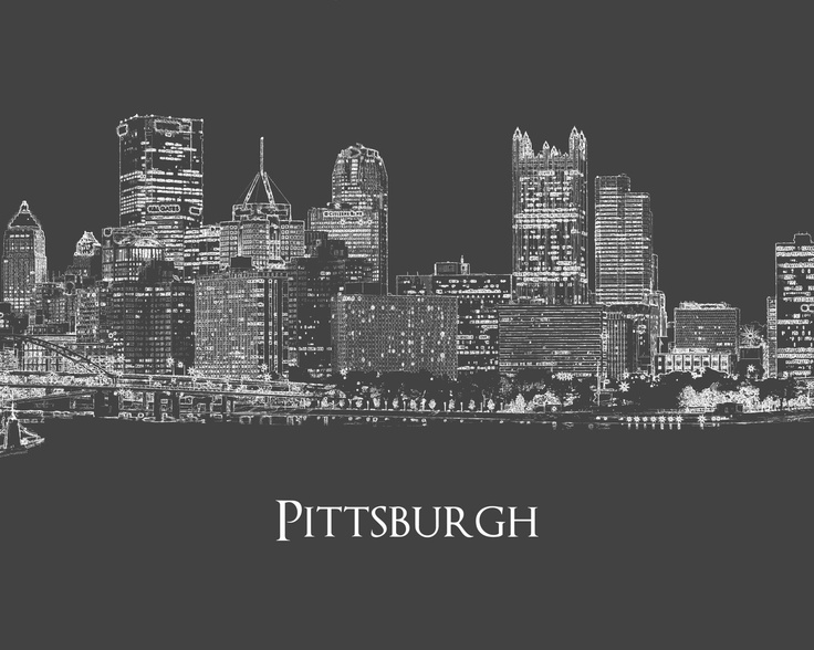 Pittsburgh Skyline Print - Ian got engaged on top of steel building - add to wall art.