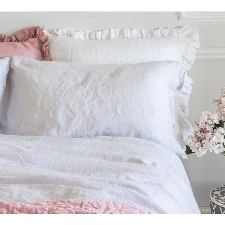 Olivia Ruffle Pure Linen | Luxury Bed Linen -  French Linen