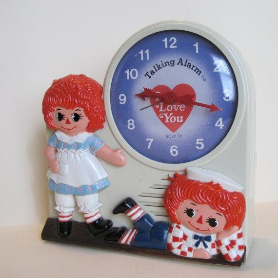 Raggedy Ann and Andy Talking Alarm Clock (photo by SoFreshSoVintage)