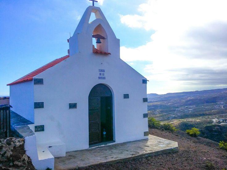 Chapel on top of the mountain. Ermita de la Virgen de los Dolores. Fasnia, Tenerife, Canary Island, Spain. 2017
