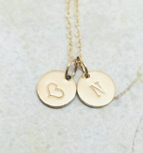 14k Gold Alexandrite June Birthstone Cursive Letter M Dog-tag Necklace