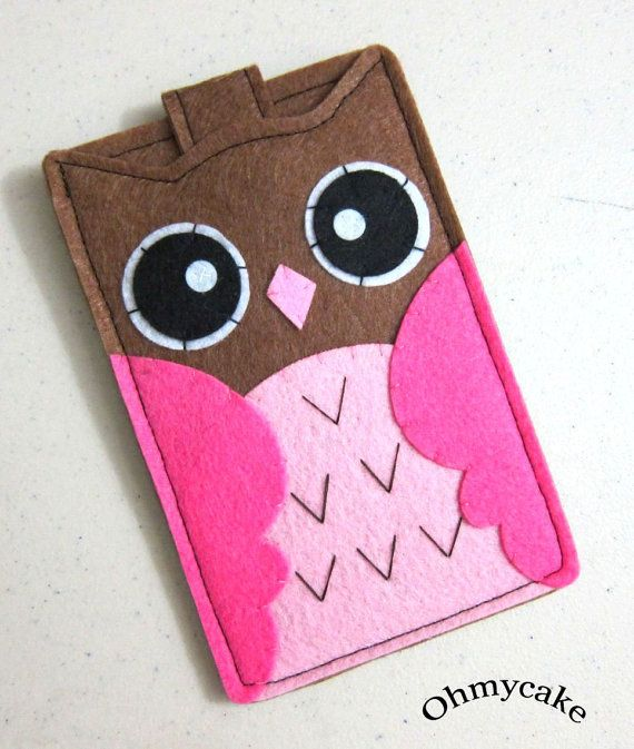 iPhone Case - Cell Phone Case - iPhone 4 Case - iPod Case - iPod Touch Case - Handmade iPhone Felt  Case -  Brown & PinkOwl  Design