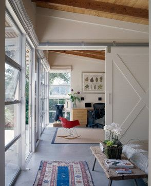 Sliding barn door to divide office area and open family for Barn doors for home office