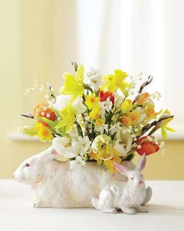 Easter arrangement. (note to self: I need to buy Easter flowers to arrange in my old Fitz & Floyd Rabbit planter)