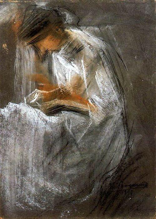 books0977:Young Woman Reading (1909). UmbertoBoccioni (Futurism, 1882-1916).Mixed technique.