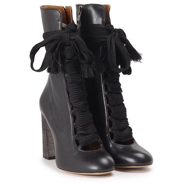 CHLOE' Harper lace-up leather ankle boots ($863) ❤ liked on Polyvore featuring shoes, boots, ankle booties, heels, black, ankle boots, black heel booties, black bootie, lace up heel booties and black leather bootie