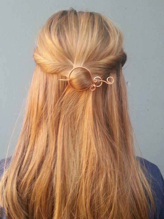 Copper hair pin wire hair clip hair barrette shawl pin by Kapelika