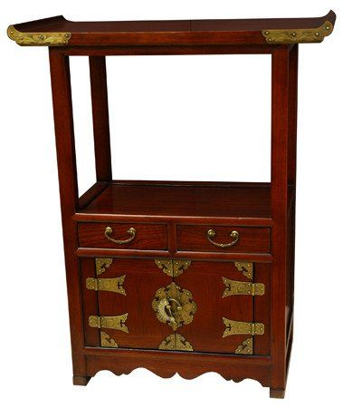 Oriental Furniture Unique End Table Or Extra Tall Nightstand, Japanese  Style Pagoda Top Telephone Stand