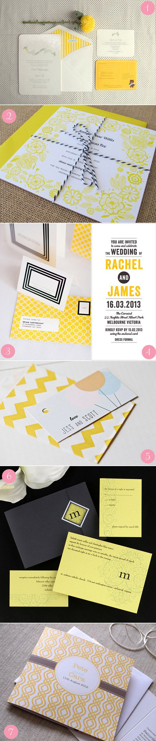Number 2 - but not yellow. I like the textured paper. Modern Wedding Invitations