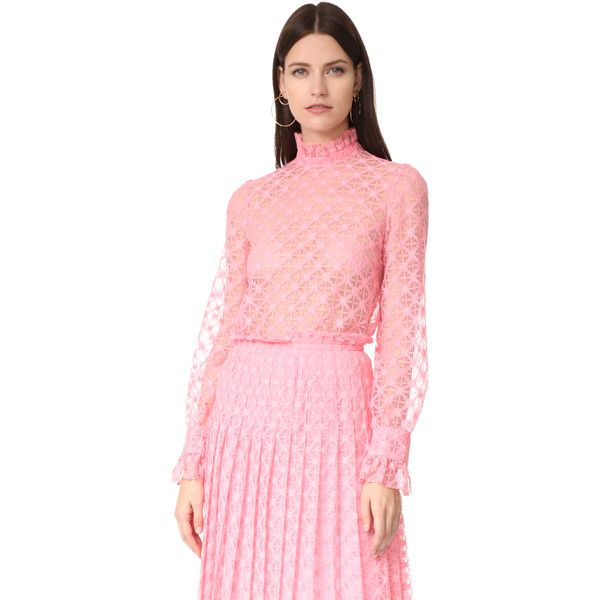 Philosophy di Lorenzo Serafini LS Blouse ($420) ❤ liked on Polyvore featuring tops, blouses, fucshia, lacy tops, long sleeve lace top, mock neck top, pink long sleeve top and long sleeve tops