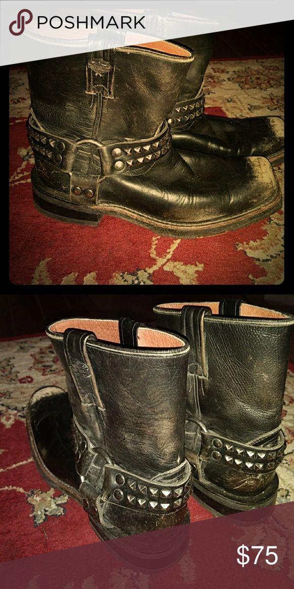 Boots Vintage studded leather boots Harley-Davidson Shoes #harleydavidsonboots