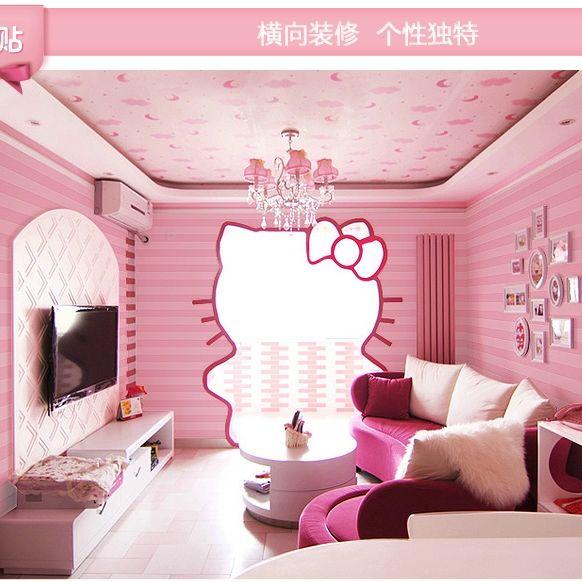 Carta da parati stanza di calore nontessuto ragazza carta da parati camera da letto bambini strisce moderno minimalista orizzontali rosa e viola verticali