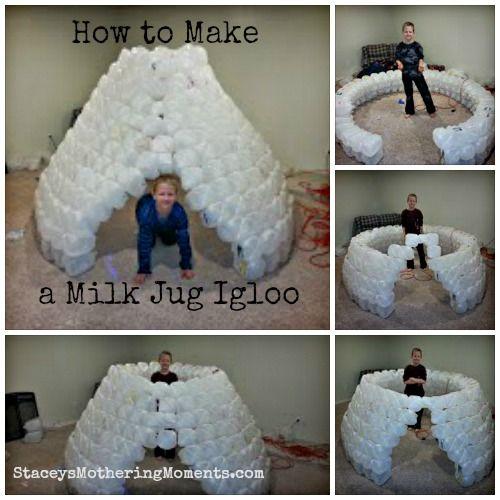 How to make a milk jug igloo.