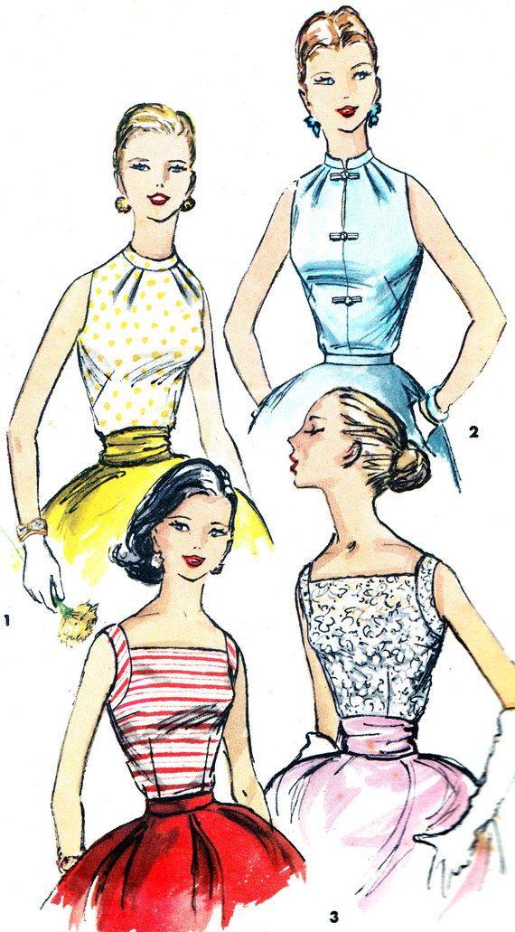 1950s Blouse Pattern Simplicity 1625 Sleeveless by paneenjerez, $18.00