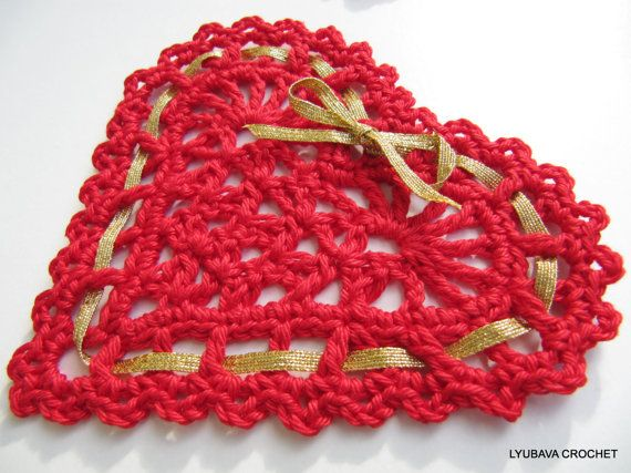 CROCHET HEART PATTERN Heart With Ribbon Diy by LyubavaCrochet