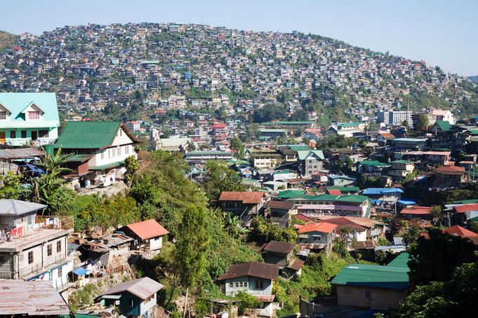 View of residential area of Baguio City, Benguet, Luzon Island