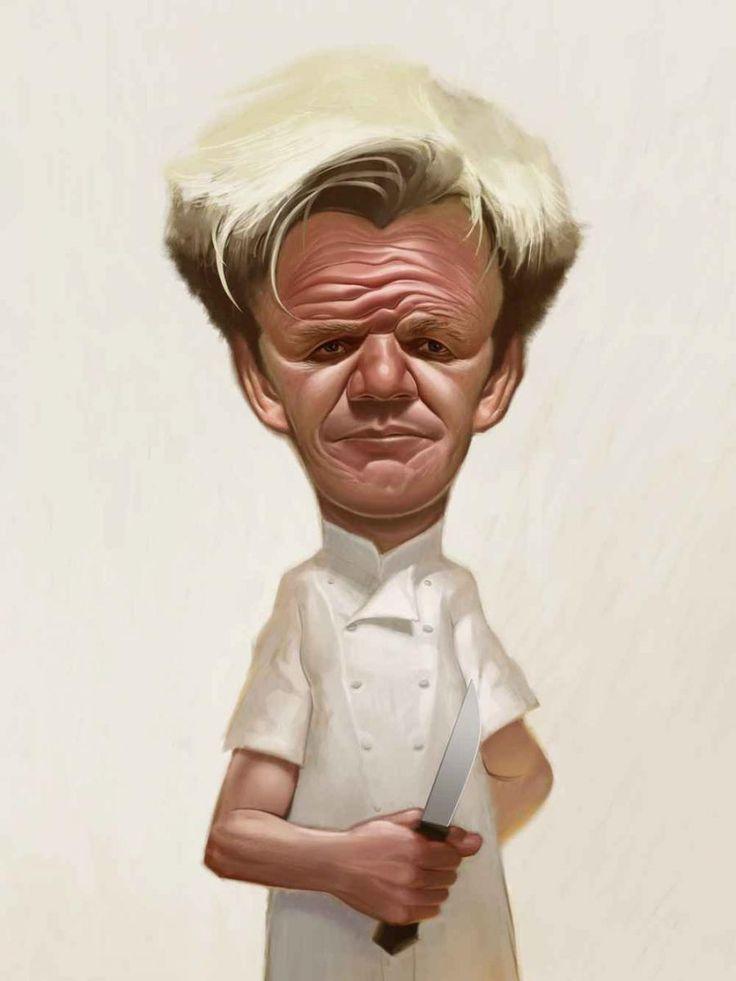 Caricature of Kitchen Nightmare's Gordon Ramsey