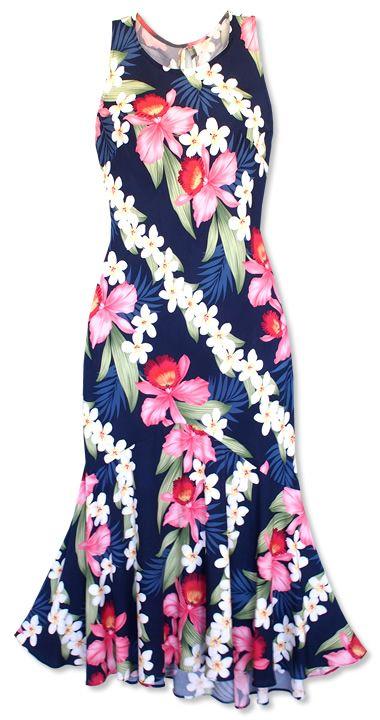 Orchid Play Blue Lehua Hawaiian Dress