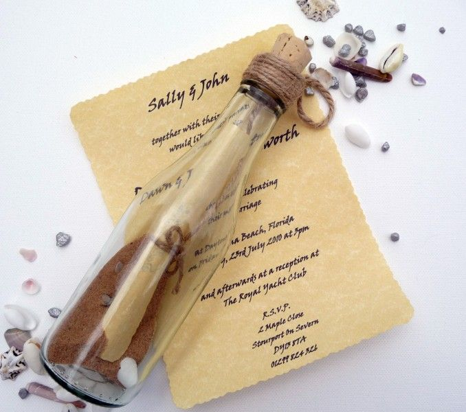 Message In a Bottle Invitation - For weddings abroad this is perfect. Also makes a great keepsake for your guests.